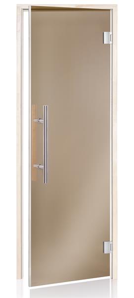 Premium badstudør i bronsefarget glass