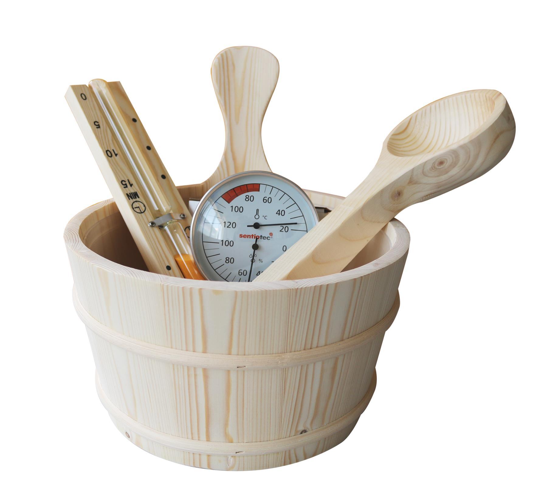 Tilbehørpakke med bøtte, sleiv, termometer og timeglass