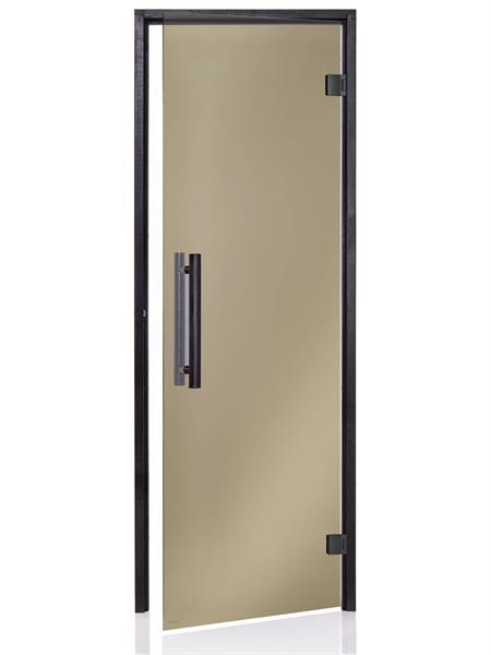 Badstudør Black med bronsefarget glass