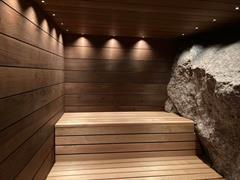 Badstue bygget rundt stein